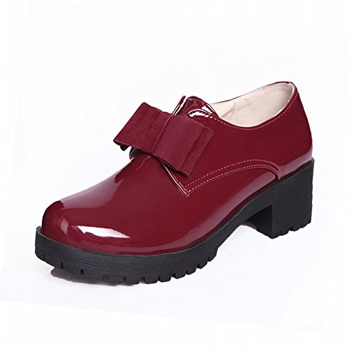 Latasa Womens Low-heel Chunky Oxford Shoes,bows Upper Wine Red