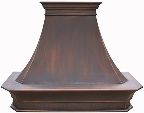 (Handmade Copper Vent Hood, includes Professional Liner,Internal Motor and Lighting, Sepcial Trim Design make it easy to install, Antique Copper FInish Suite to Most American Kitchens 48x42inch)