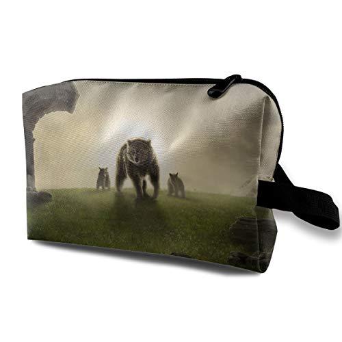 Wolf Print Cosmetic Bags Makeup Organizer Bag Pouch Zipper Purse Handbag Clutch Bag -