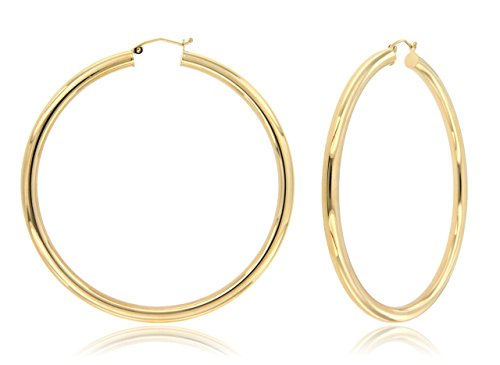 Balluccitoosi Plain Hoop Earrings - 14k Yellow Gold Earring for Women and Girls - Diamond cut Unique Jewelry for Everyday by Ballucci&Toosi Goldsmith