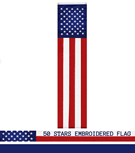 G128 American Flag Patriotic Bunting & Flag Pulldown, 50 Embroidered Stars with 5 Fully Sewn Stripes, decorative bunting, 20