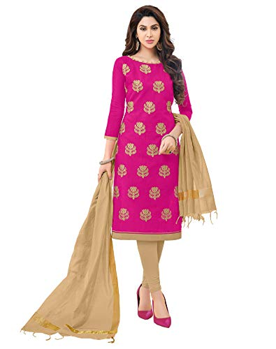 (Viva N Diva Women's Dark Pink Modal Cotton Embroidered Dress Material with Banarasi Woven Dupatta Un-Stitched Salwar Suit,Free Size)
