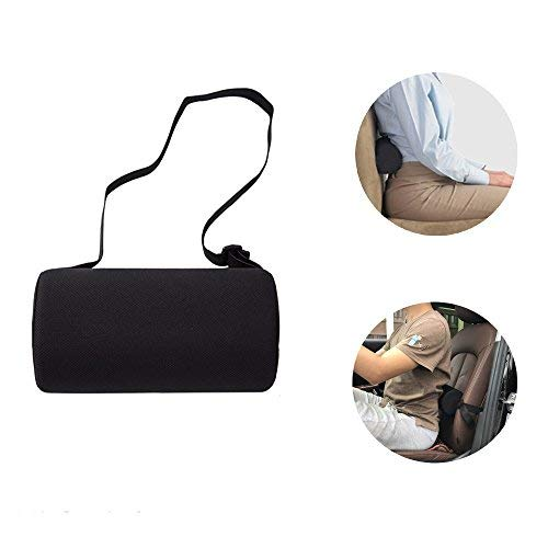 Lumbar Roll Support Pillow Slimline Cushion for Car Meomory Foam Automotive Protector Men Women Back Health Guys Massaging Block Best Orthopedic Portable Small Adjustable Lower Travel Round Pillow by NEPPT (Image #7)