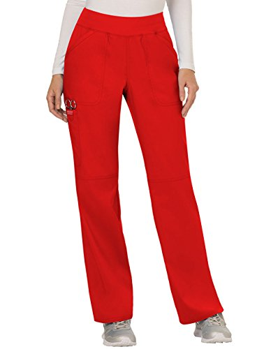 Cherokee Women's Mid Rise Straight Leg Pull-on Pant, Red, Large -