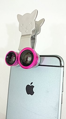 Shopping_Shop2000 Universal Cat Design Clamp Clip Camera Lens Fish Eye Lens + Wide Angle + Micro Lens 3-in-1 Kit for Iphone 6 6 Plus 5 5c 5s 4s 4 Ipad - Irda Kit