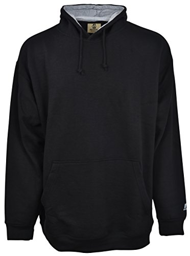 Tall Hooded Pullover (Russell Athletic Men's Big & Tall Fleece Pull-Over Hoodie, Black/Heather Grey, XXXX-Large)
