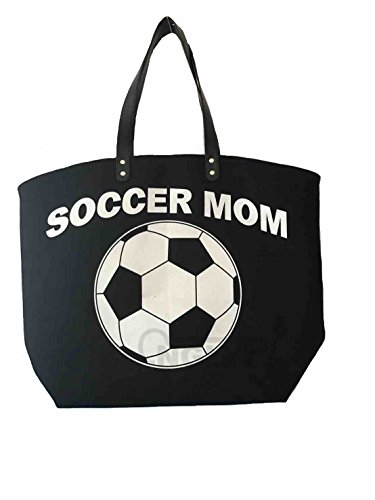 X.Sem Soccer Mom Tote - 23 inches Oversized Cotton Silver Glitter Weekender Sports Totes Bag
