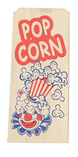 1,000 1 oz. Small Popcorn Paper Bags - Printed with Retro Clown Design (3 1/2 x 2 x 8) - Printed Popcorn