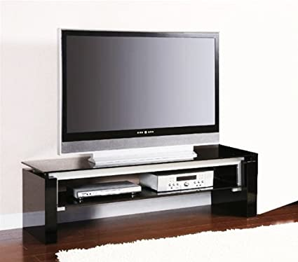 Amazon Com Black And Silver Tv Stand By Coaster Furniture Kitchen