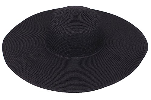 EOZY Black Women's Ridge Wide Floppy Brim Summer Beach Sun Hat Straw Cap Party Garden Travel