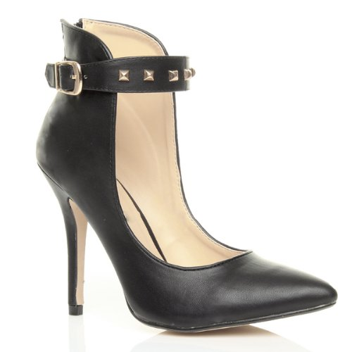 Studded Ankle Cuff (Ajvani Women's High Heel Ankle Cuff Studded Strap Buckle Court Shoes Size 6 37)