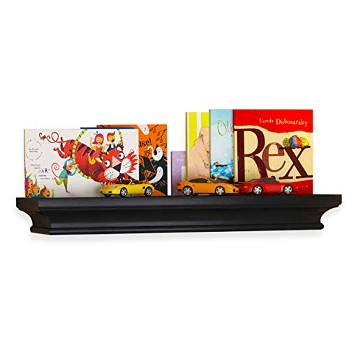 brightmaison Crown Molding Kids Room Floating Shelf Picture Ledge Nursery Décor Bookshelf for Frames Book Display with Sturdy Concealed Metal Bracket for Stable Wall Mount (Black) (Bookcase Crown Molding)