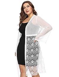 ChicChic Womens Plus Size Long Sleeve Lace Cardigan Shurg Bolero Blouse Kimono Open Front Jacket