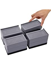 Yunnix Furniture Bed Risers 3 inch Heavy Duty Adjustable Bed Lifts for Sofa Couch Desk Table Leg Extenders up to 10000 lbs - (4 Piece Set, Grey)