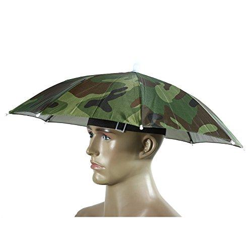 (Portable Umbrella Hat Sun Shade Camping Fishing Hiking Golf Beach Headwear Outdoor Brolly for Men Handsfree Umbrella Tackle - Camo)