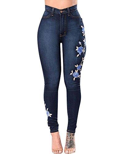 ZhuiKun Mujer Cintura Medio Bordado Pantalones Jeans Elástico Flacos Vaqueros Leggings Push up Mezclilla Pantalones Azul Oscuro