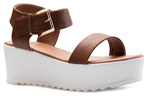 OLIVIA K Women's Platform Buckle Sandal - Open Peep Toe Fashion Chunky Ankle Strap Shoe,Tan,8 B(M) US