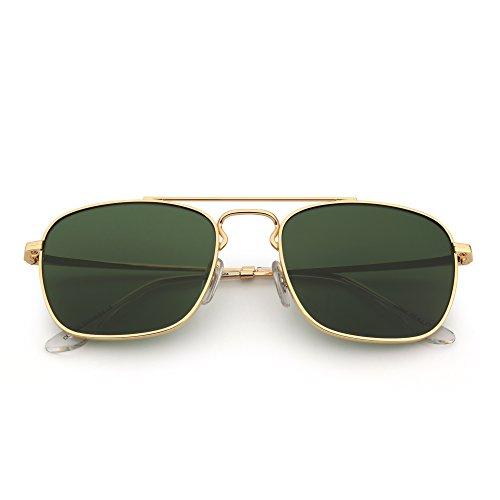 de de Vidrio Anteojos Calidad Alta de Hombre Retro Plano Gafas Verde Dorado Aviador Metal Mujer Sol Lente Cuadradas Fwx0d