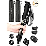 "NIANYISO Trekking Poles Collapsible Lightweight for Height 5'3""-6'3"", 2 Pack Adjustable Hiking Poles Aluminum Hiking Walking Sticks Walking Poles with EVA Soft Foam Comfortable Handles for Man Women"