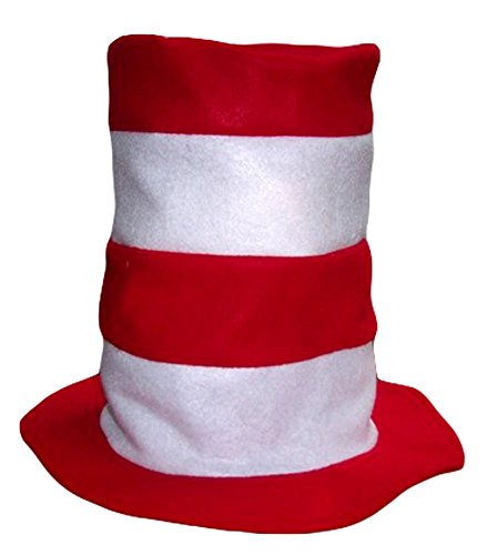White and Red striped Felt Hat Adults size (Adult Hats)