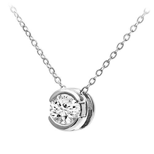 Revoni Bague en or blanc 9carats-Rub de Quart carat Diamant Pendentif et chaîne 45,7cm
