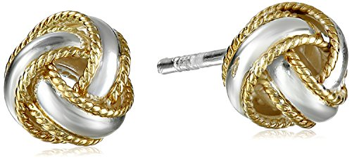 Band Silver Tone Earrings (Sterling Silver Two-Tone Polished Rope Band Love Knot Stud Earrings)