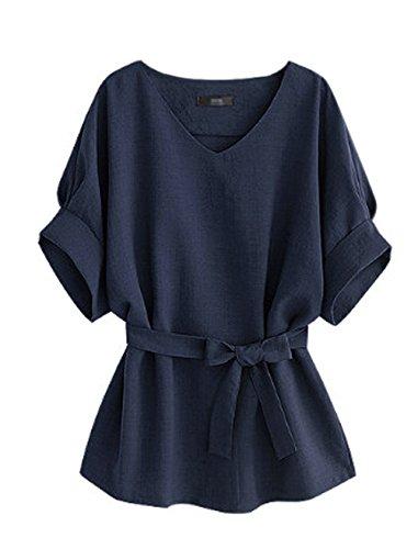 Tops Tops JackenLOVE Chauve Bandage Unie Couleur Hauts Fashion Femmes Souris t Manches T Col Casual Chemisiers avec Blouses V Bleu Shirt awqaFpx0