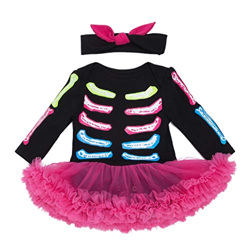 Clearance Sale Infant Toddler Long Sleeve Romper - vermers Baby Girls Halloween Skull Bow Party Dresses Clothes(3M, Black)