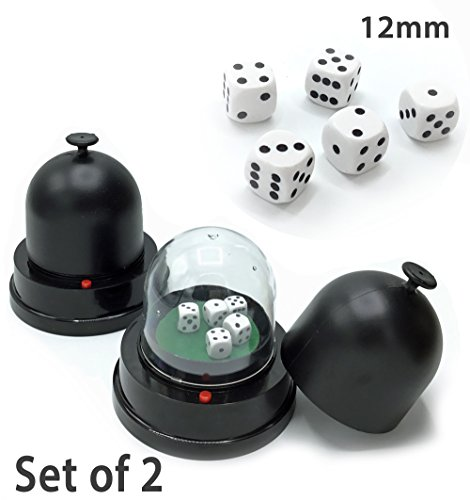 [Set of 2] Automatic Dice Roller Cup - Battery Powered w 10 FREE Dice (12mm) 6-Sided for Backgammon, Dice, Yahtzee, Settlers of Catan, Monopoly, Sic Bo, Dice Game, Board Game Accessories - By Cafolo by Cafolo