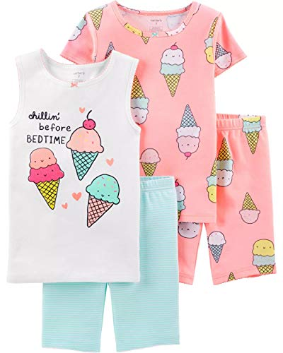 - Carter's Girls' 4-Piece Snug Fit Cotton PJS (8, White/Neon Orange/Ice Cream)
