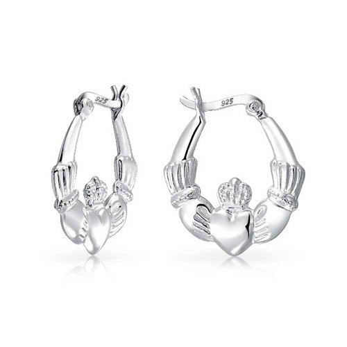Bling Jewelry Polished Claddagh Heart Hoop Earring 925 - Claddagh Earrings Sterling Silver