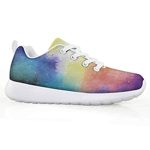 Price comparison product image Abstract Children Running Shoes Watercolor Galaxy Outer Space Star Dust Seemed Image in Vivid Colors Mode
