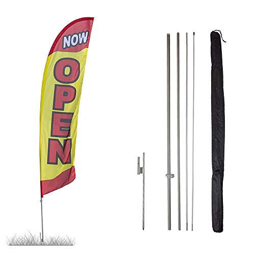 Vispronet - Now Open Feather Flag Kits - 13.5ft Flag Complete with Pole Set and Ground Stake (Yellow) Businesses, Storefronts, Sales - Printed in The USA