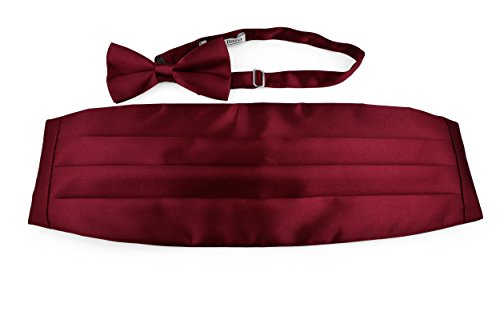 Moda Di Raza- Men's Satin Bowtie and Cummerbund Set Combo Tuxedo - Burgundy (Set Cummerbund Burgundy)