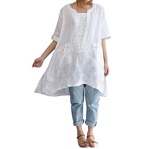 (Owill Women Plus Size Irregular Fashion Loose Linen Short Sleeved Shirt Vintage Blouse (White, L))