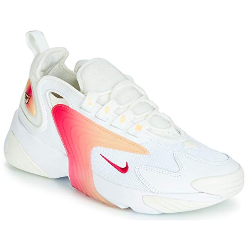 Nike Women's Zoom 2K White/Rush Pink/Sail/Melon Tint Synthetic Cross-Trainers Shoes 10 M US (Neon Pink And Yellow Nike Running Shoes)