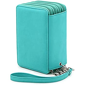 BTSKY PU Leather Colored Pencil Case with Compartments-72 Slots Handy Pencil Bags Large for Watercolor Pencils, Gel Pens and Ordinary Pencils (Green)