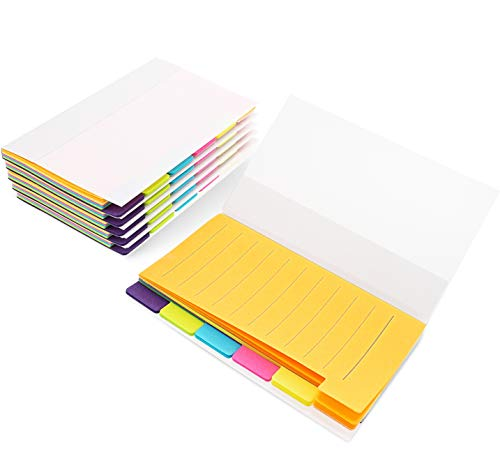 - Best Paper Greetings 6-Pack Colored Divider Sticky Notes, Color Coded Index Tab Stickers, Bookmark Page Markers, 360 Ruled Sheets, 3 x 5 Inches