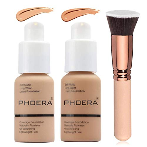 2 Colors Phoera Foundation 104 & 105 Full Coverage Foundation Liquid Makeup with Foundation Brush, Matte Oil Control…