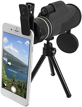 単眼鏡 長距離閲覧するための40x60単眼超高精細光学レンズローライトナイトビジョン望遠鏡の携帯電話の三脚 スマートフォンの防水防塵防曇単眼 (色 : Black, Size : 145 x 50mm)