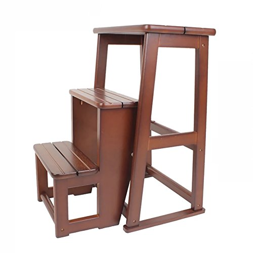Ladder stool Indoor 2-step Full Solid Wood Folding Chairs Two-story Staircase Stool Step Stool Dual-use Folding Ladder Household Wooden Bench (Color : (Dual Display Bench)