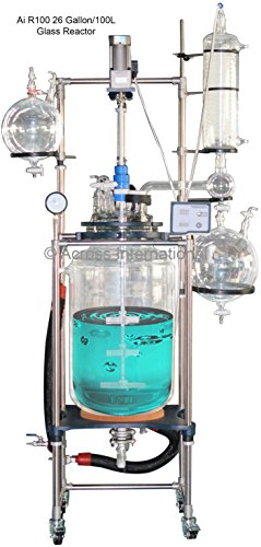 Ai R100 100L Jacketed Glass Reactors w/ All PTFE Valves 110V 60Hz 250 Watts