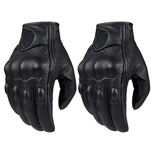aXXcssqw9b 1 Pair Breathable Faux Leather Motorcycle Bike Cycling Safety Full Finger Gloves
