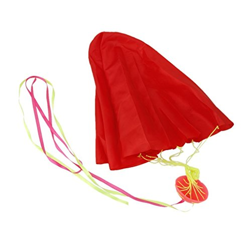 MIJORA-Mini Tangle-Free Parachute Sky Flying Kids Outdoor Toys Park Games Red (Glow In The Dark Toy Parachute)