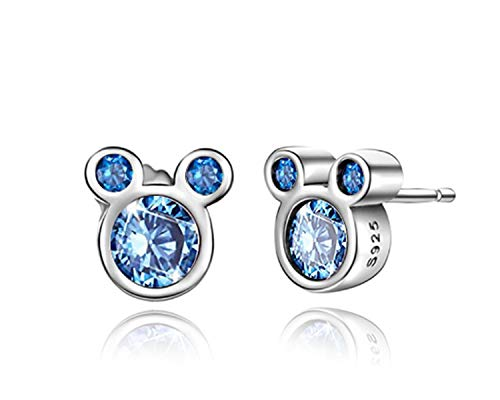 BAMOER Mouse Stud Earrings Sterling Silver Blue Birthstone Earrings Stud for Women Birthday Gift