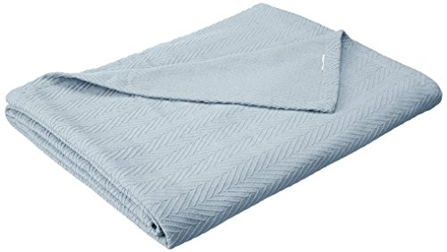 Superior 100% Cotton Thermal Blanket, Soft and Breathable Cotton for All Seasons, Bed Blanket and Oversized Throw Blanket with Metro Herringbone Weave Pattern - Full/Queen Size, Light Blue