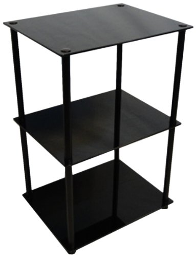 Convenience Concepts Designs2Go Midnight Classic 3-Tier Glass Square End/Lamp Table, Black Glass (Glass End Table Top Square)