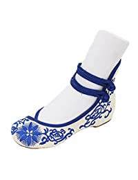 ZYZF Women Chinese Sun Flower Embroidered Oxfords Rubber Sole Mary Jane Dance Flat Shoes