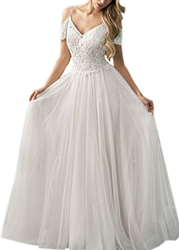 Off Shoulder Spaghetti Strap Wedding Dress Tulle Lace Bridal Gown White ()