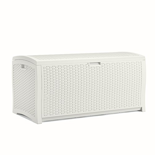 Suncast 99 Gallon Resin Wicker Patio Storage Box - Waterproof Outdoor Storage Container for Toys, Furniture, Yard Tools - Store Items on Deck, Porch, Backyard - White